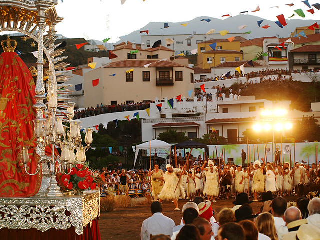 Guanches approach Black Madonna at Fiesta in Honour of the Virgen de la Candelaria, Tenerife