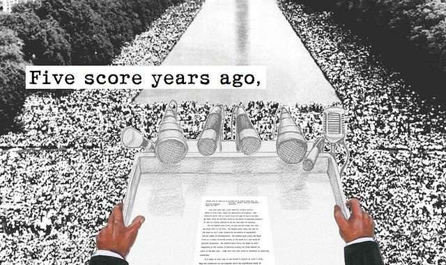 A drawing of MLK's hands at the march on washington