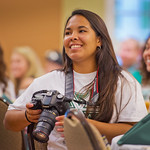 13-001 -- Vanessa Macias '14 takes photos during a joint opening luncheon for MALANA and Engaging Diversity pre-orientation programs.