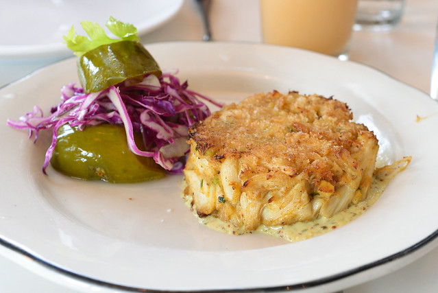 Maryland Blue Crab Cake in-house dill pickles, whole grain mustard remoulade