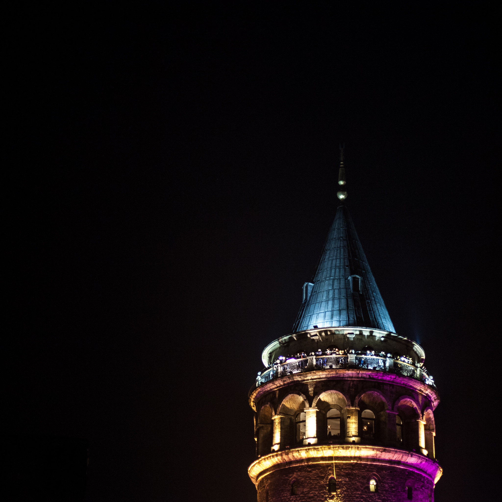 Galata Tower, purple for Republic Day.