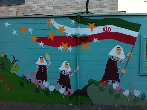 Mural de un colegio de Irán