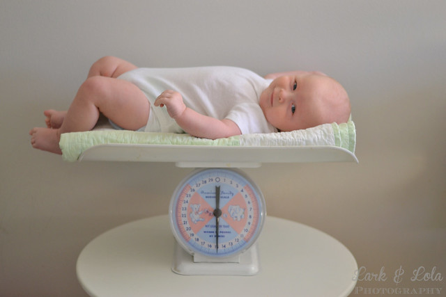 Baby Paxton on scale
