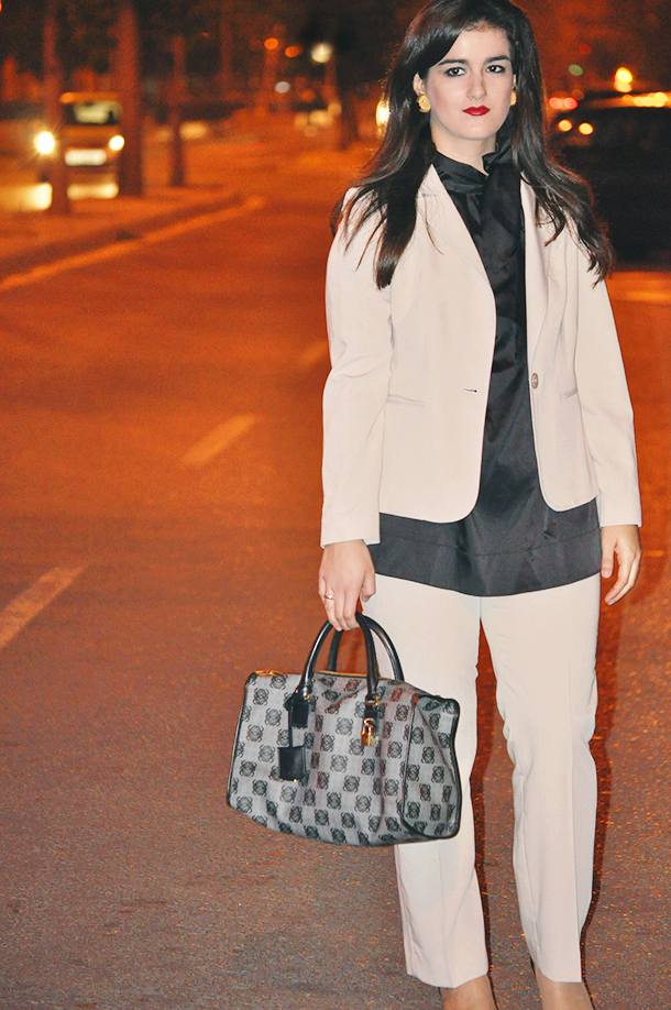 something fashion, loewe monogram bag fashion blogger, cream brown suit, vintage earrings, pointed 50's inspiration heels