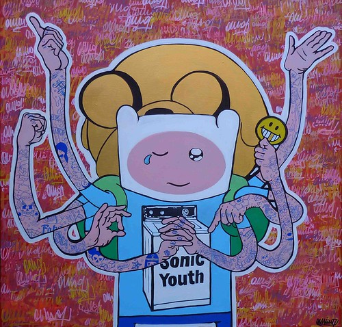 "new artwork by omino71 - ""somniare, vivere, dicere, facere, habere & esse"" 90x90x4 2013 Roma (new project on canvas based to Adventure Time hero) by OMINO71"