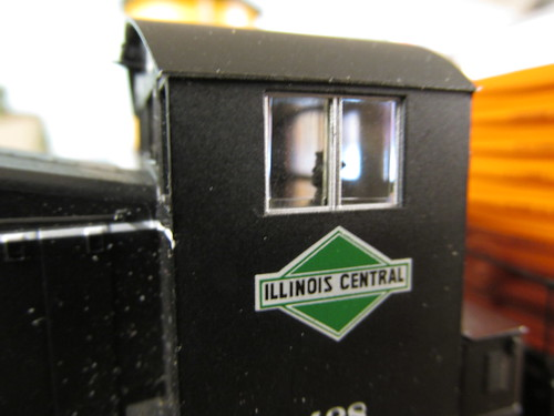"An extreme close up photo of the Illinois Central Railroad's pre 1967 ""Green Diamond"" corporate logo. by Eddie from Chicago"