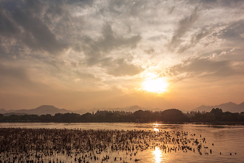sunset cloud lake water nikon westlake hangzhou