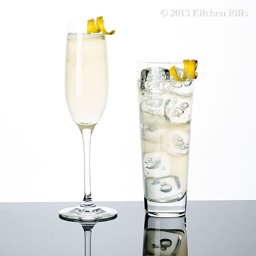 French 75 Cocktails with lemon twist garnishes, in champagne flute and tall glass
