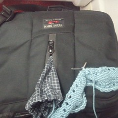 Late night train knitting with my wonderful @tombihn co-pilot.