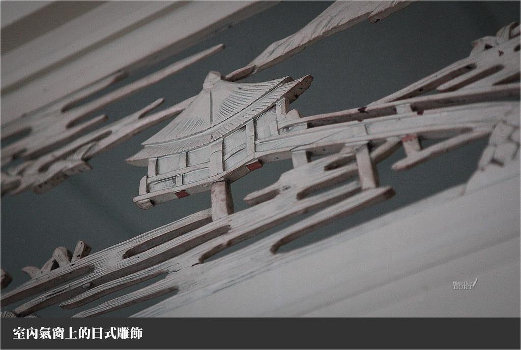 室內氣窗上的日式雕飾