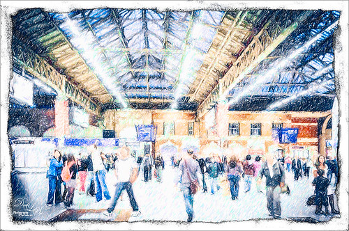 Image of Victoria Station using Snap Art 4 Colored Pencil effect