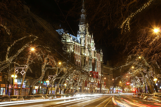Budapest - the New York palace with the Elisabeth boulevard at night around christmas time 2