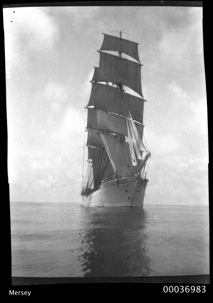 Bow view of three-masted training ship MERSEY, 1908-1915