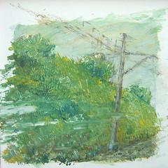 B 13.3 Besen-Malerei: Narrowness - Zu eng, Bahndamm links