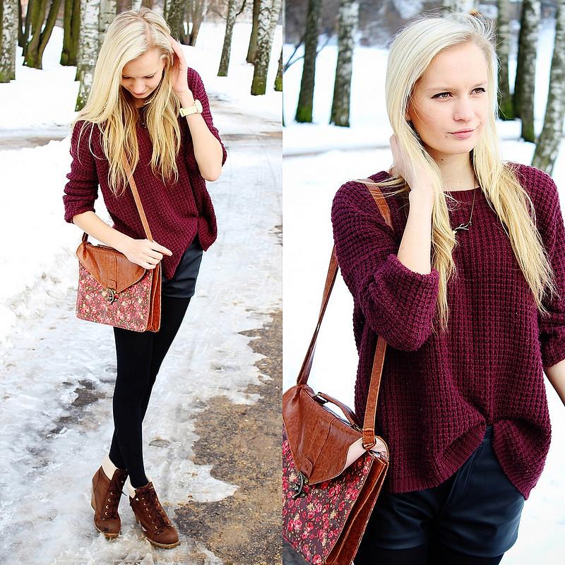 bik bok leather shorts, primark messanger bag, burgundy red sweater