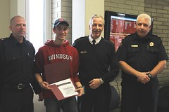 Justin Folkeringa at Co-op Student Program Completion Ceremony (from left to right, Captain Somerville, Justin Folkeringa, Chief Montone, Captain Easby)