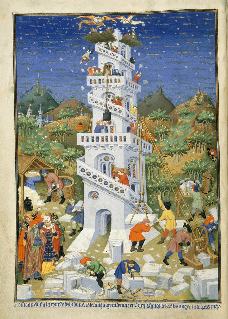 Bedford Hours - caption: 'Building of the Tower of Babel'