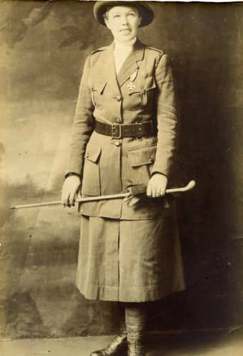 Portrait of Vera 'Jack' Holme in Scottish Women's Hospitals Unit uniform, c.1916. Credit: LSE Library