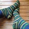 "I finished these socks recently and forgot to share a pic (oops!) Knit toe-up with afterthought heels out of my ""Lucid Dream"" sock yarn. Enchanted Forest colourway. #juliannasfibre #operationsockdrawer #stripes"