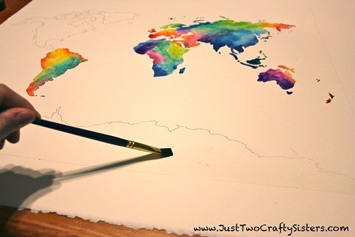 watercolor painting a world map