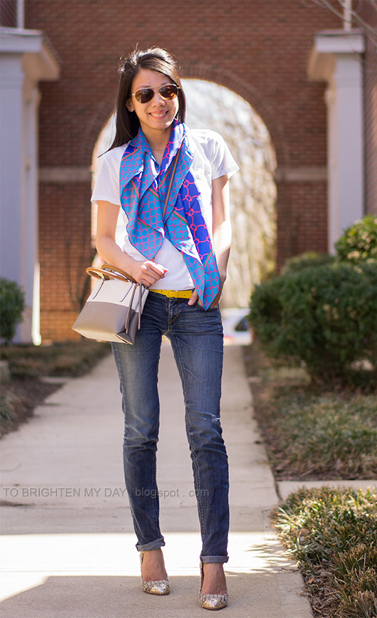 printed scarf, white tee, tweed and glitter pumps