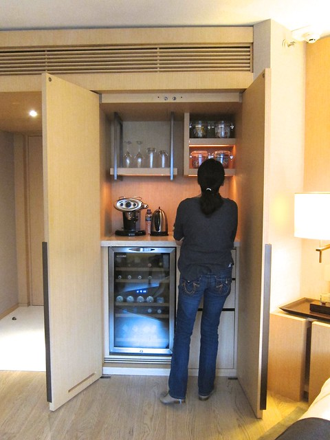 Patrice checks out the minibar