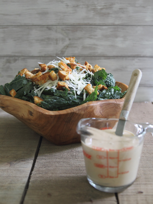 Sriracha Kale Caesar Salad with Spicy Croutons