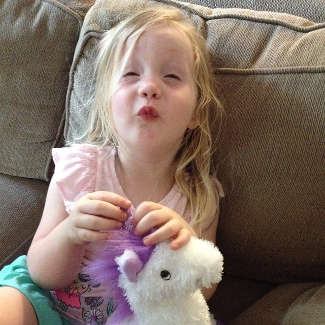 This is Lauren about 10 days ago at her early birthday party, hair wind-blown & sweaty, face silly, new unicorn (named Aretha!) in her lap. Today is her actual birthday, so here's to four years of THIS GIRL. Happy birthday, Lala! You are everything.