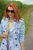 Not Dressed As Lamb | Blue floral trench, yellow tank, purple flare midi skirt by Not Dressed As Lamb