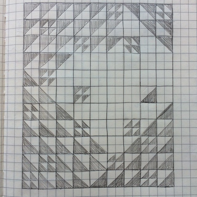 Ara Jane's sketch of her half square triangle quilt plan for July's do. Good Stitches quilt