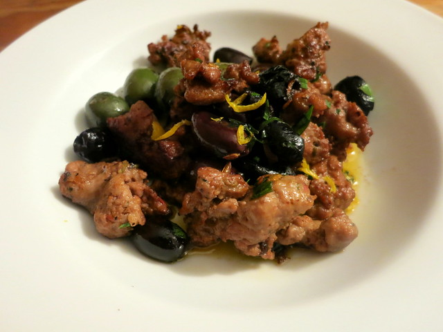 Sausage, fried olives, citrus