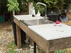 Outdoor sink, made from scraps and salvage.