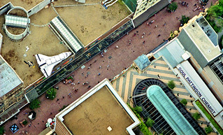 Oct 1995 - View looking north-west (zoomed, almost vertically down) towards the Pitt St Mall from the Centrepoint Tower revolving observation deck, Sydney, New South Wales, Australia