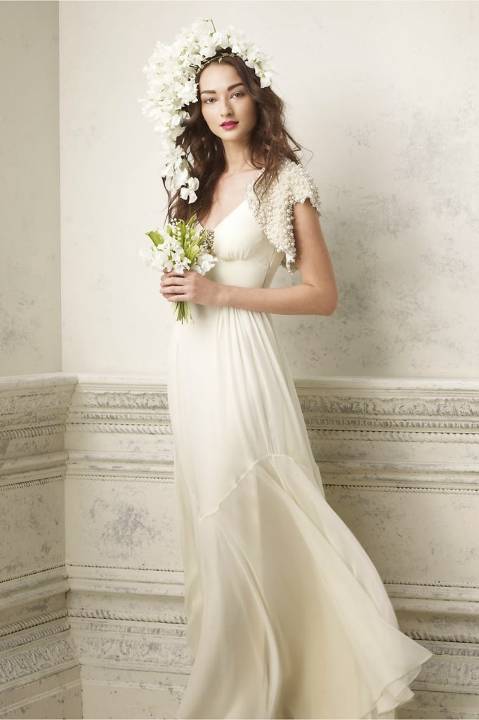 Simple Long White Wedding Dress
