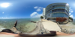 The Waikiki Promenade fronting Kaluahole Beach aka Tongg's Beach in Waikiki - a 360 degree Equirectangular VR