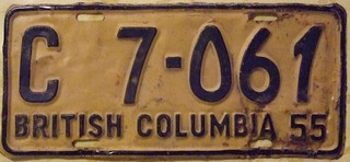 BRITISH COLUMBIA 1955 ---COMMERCIAL LICENSE PLATE FOUR DIGIT SERIAL #