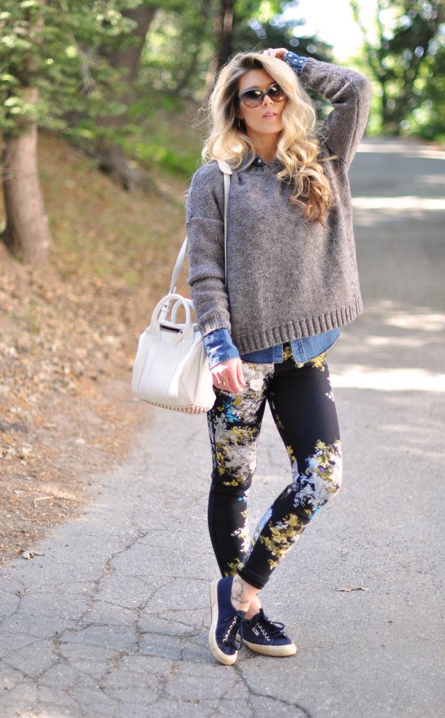 floral neoprene pants- superga sneakers-wang rockie bag-hair