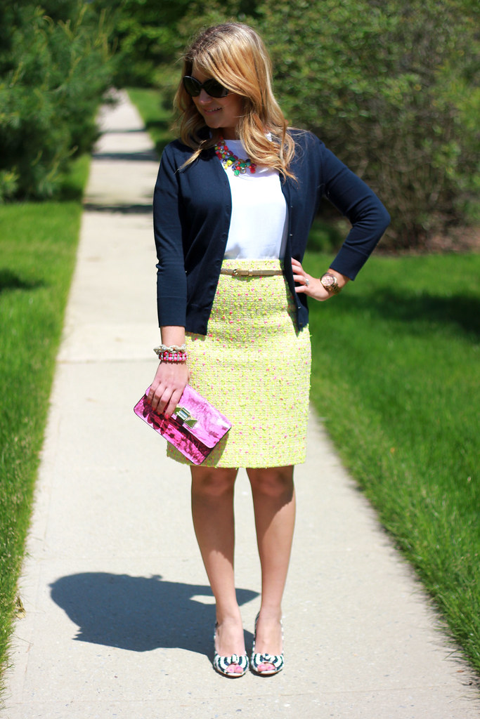 Yellow, Pink, and Navy Outfit