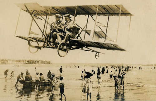 Buzzing the Beach in a Biplane, Los Angeles, Calif., 1911
