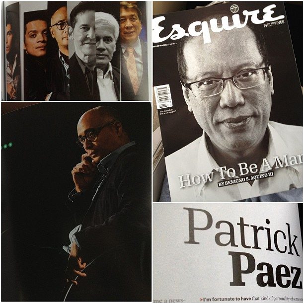 Bragstagram. Patrick is in @esquireph issue of How To Be A Man with no less than the President in the cover. He's featured w Bamboo, @erwanjheussaf, Rudy Farinas etc. Totally astig @trikoy. So proud of my man!