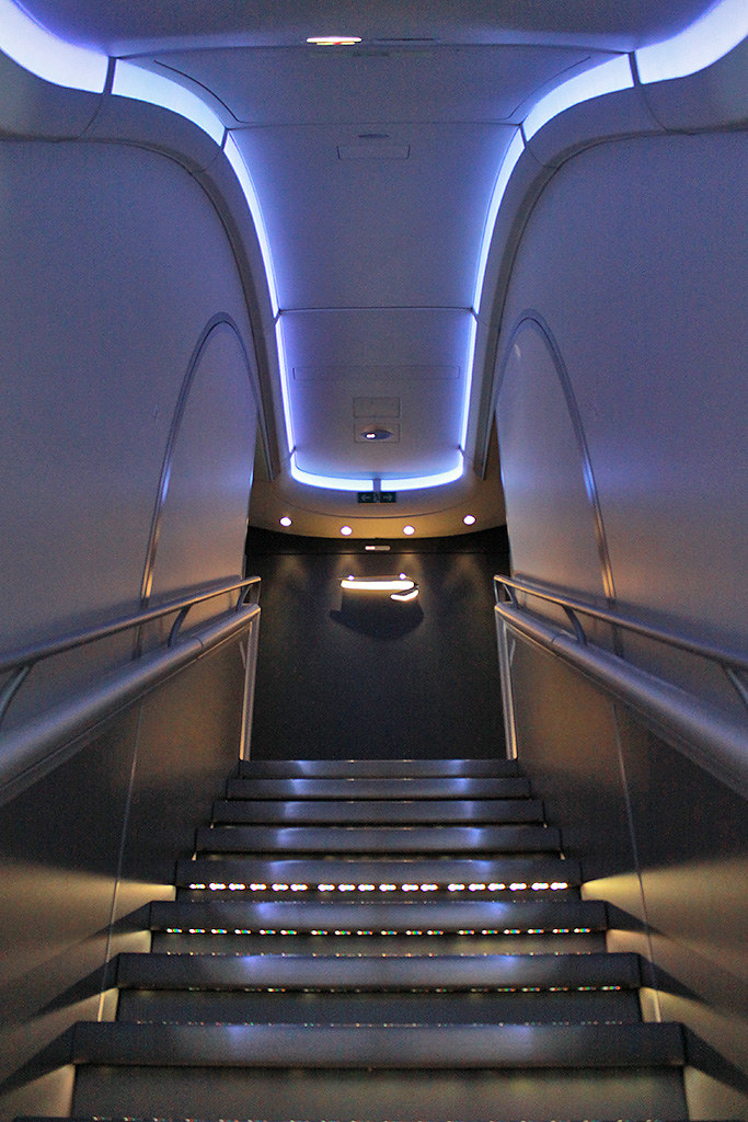 Uk airshow review forums british airways a380 inside for Pre built stairs interior