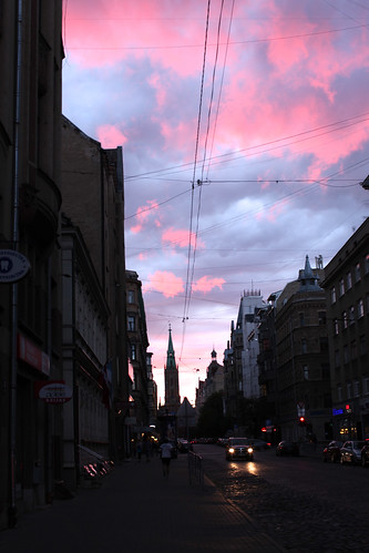 Gertrudes street in Riga at Sunset