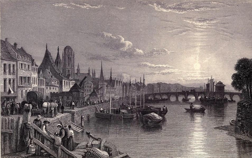 15. Francfort y río Meno, afluente del Rin. Boceto de Clarkson Standfield. 1833. Autor, Ayacata7
