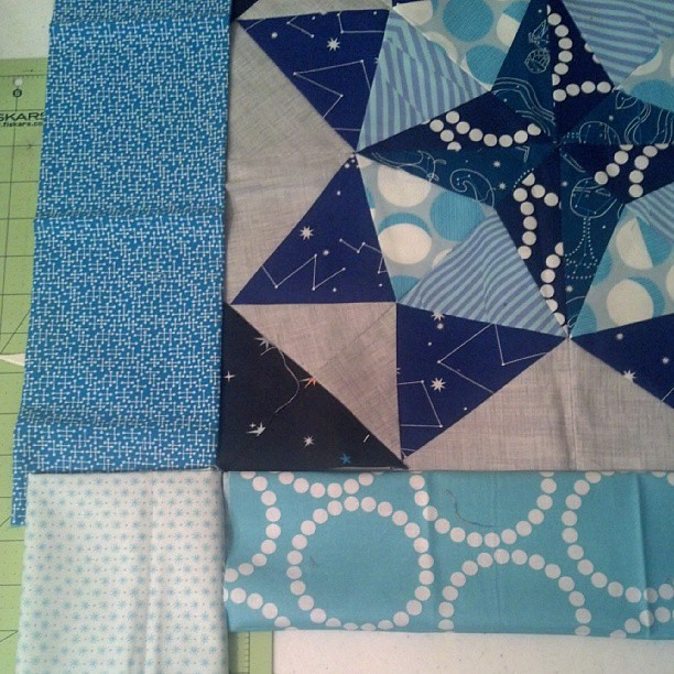 Can't decide which fabric to use. What do y'all think? #mmqal #marcellemedallion
