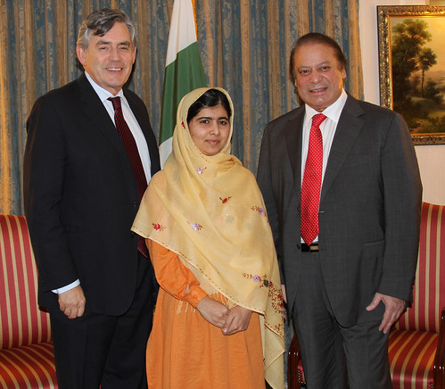 UN Special Envoy for Global Education Gordon Brown, education campaigner Malala Yousafzai and Pakistani Prime Minister Nawaz Sharif  25 September 2013 at UNGA in New York.  Credit A World at School.