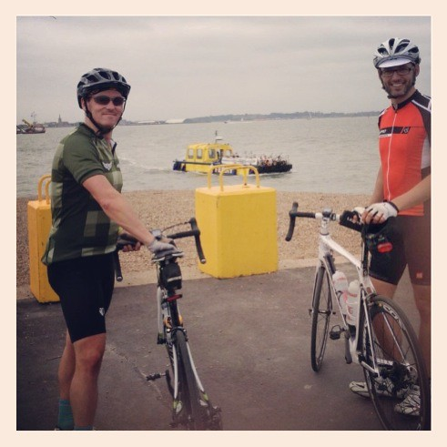 Me and Stu waiting for Felixstowe Ferry - No. 3.