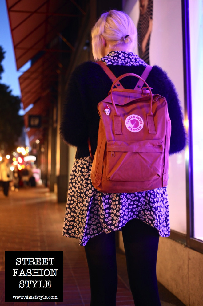 fjallraven kanken bag, fuzzy sweater, floral dress, platinum blond hair, streetstyle, street fashion style, san francisco fashion blog,