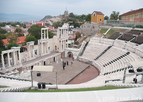 Roman theatre in Plovdiv Old Town Bulgaria