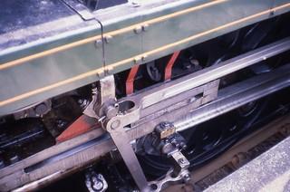 SR MN 4-6-2 35018 'Clan Line' motion, Ruabon, The Mayflower train, May 1980 Slides176