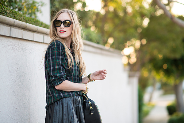 eatsleepwear, plaid, leather, portrait, outfit